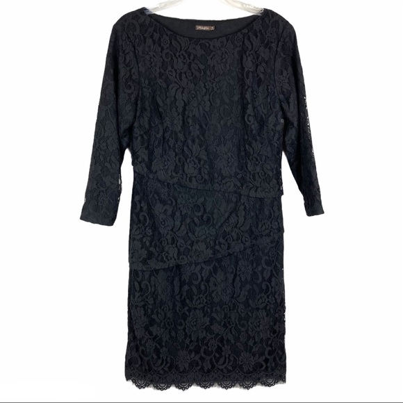 J McLaughlin Black Lace Tiered Sheath Dress 10